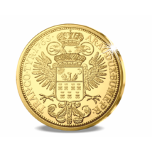 // eredeti érme 12 dukát, Aranyóriás Erdélyből, aranyozott rézötvözet, eredeti érme Gyulafehérvár, eredeti érme 1765 // 1765-től Mária Terézia felvette az Erdély nagyfejedelme címet, s hagyományozta tovább az őt követő Habsburg uralkodó körében is. Ennek