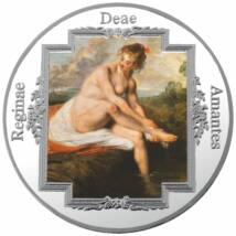 Antoine Watteau: Diána a fürdőben, festett, ezüstözött érem