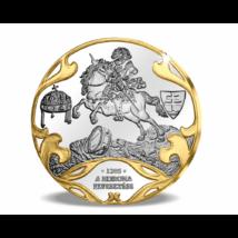 // színarannyal díszített ezüstözött érem, A Szent Korona elvesztése // 1301-ben kihalt az Árpád-ház. A magyar trónért vetélkedés indult. Bajor Ottó 1305-ben magához vette Csehországban a Szent Koronát, és Magyarországra jövet egyszerűen egy csobolyóban,