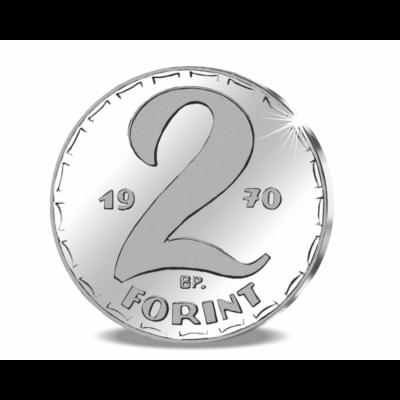 // 2 forint, Ag 999, 3 g, 22 mm //Színezüst 2 forint, Kádár-korszak, 1970, utánveret, másolat, nem pénz, replica, no coin
