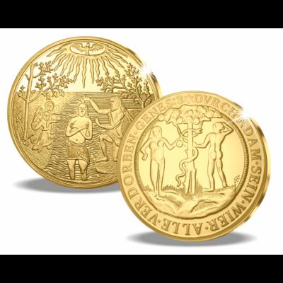 //Jézus megkeresztelése aranyba foglalva, színarannyal bevont rézötvözet, Ádám és Éva a Paradicsomban, aranyba foglalva, színarannyal bevont rézötvözet // Az eredeti aranyérme a nagy erdélyi fejedelem, Bethlen Gábor keresztelő érméje volt. A 10 dukát, aza
