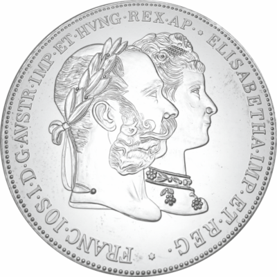 // 2 florin utánveret, Házasság 25. évf. 2 florin utánveret, ezüstözött rézötvözet, , eredeti érme 1879 // Ferenc József és Sissi 1854-ben kötöttek házasságot. 25 évvel később, 1879-ben, az ezüstlakodalmuk alkalmából jelent meg ez a jubileumi 2 florin ezü