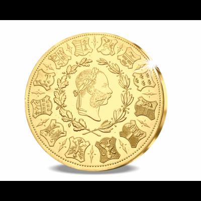 // eredeti érme 4 dukát, Különleges, nagy aranysúlyú lövészérem, aranyozott rézötvözet, eredeti érme Bécs, eredeti érme 1873 // 1873-ban volt 100 éves a bécsi lövész egyesület. Ez alkalomból verette Ferenc József császár ezt a 4 dukát, azaz 14 g súlyú ara