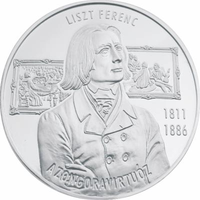 Liszt Ferenc, a zongoravirtuóz, emlékérmen