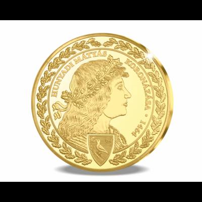 // koronázási érem, 35 g, 46 mm, aranyozott //Mátyás király koronázási érem az 555. évfordulóra