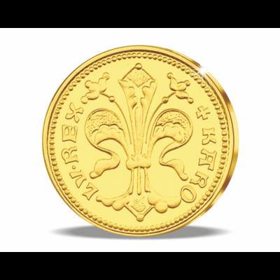 Magyar aranyritkaság - Károly Róbert aranyforint, 1325, utánveret, másolat, nem pénz, replica, no coin