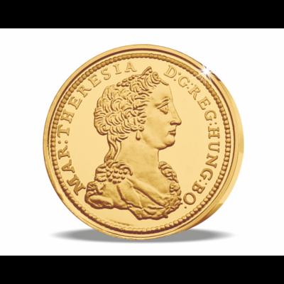 Magyar aranyritkaság - Mária Terézia ritka aranydukátja, 1741, utánveret, másolat, nem pénz, replica, no coin