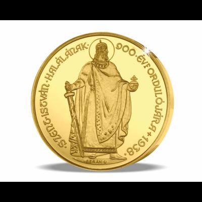 Magyar aranyritkaság - Szent István 5 pengő, 1938, utánveret, másolat, nem pénz, replica, no coin