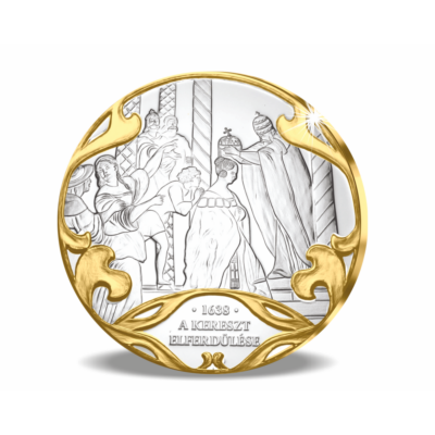 // színarannyal díszített ezüstözött érem, A Szent Korona elrablása // Albert király halála után özvegye 1440-ben elrabolta a Szent Koronát Visegrádról, és csecsemő fiát megkoronáztatta. Majd a koronát a bölcsőbe rejtve kicsempészte az országból, Bécsbe v